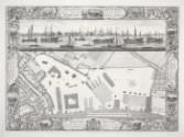 Pierre-Charles Canot after Thomas Milton and (?)John Cleveley the Elder, *A Geometrical Plan, & North East Elevation of His Majesty's Dock-Yard, at Deptford, with Part of the Town, &c.*, 1755, engraving