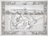 Pierre-Charles Canot after Thomas Milton and John Cleveley the Elder, *A Geometrical Plan, & West Elevation of His Majesty's Dock-Yard and Garrison, at Sheerness, with the Ordnance Wharfe, &c.*, 1755, line engraving on paper