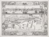 Pierre-Charles Canot after Thomas Milton and (?)John Cleveley the Elder, *A Geometrical Plan, & North Elevation of His Majesty's Dock-Yard, at Woolwich, with Part of the Town, &c.*, 1753, engraving