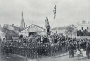 Public school cadets drawn up in front of the Queen Victoria statue to salute the flag on Empire Day, May 24, 1907, in Victoria Square