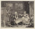 W. Hogarth, *A Harlot's Progress, Plate 2: Mary Hackabout distracts her patron's attention by kicking over the tea table*