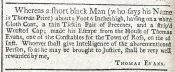 [Advertisement for runaway servant], *Gloucester Journal (December 15, 1730)