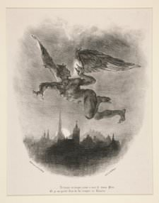 Eugène Delacroix, Mephistopheles dans les airs (Mephistopheles in the Skies), illustration to the first French translation of Johann Wolfgang von Goethe's Faust