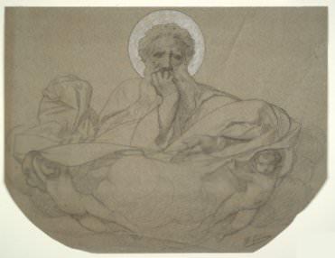 Jean Léon Gérôme, Dieu le Père soutenu par des anges (God the Father Supported by Angels), study for the ceiling panel decorating the railway carriage of Pope Pius IX