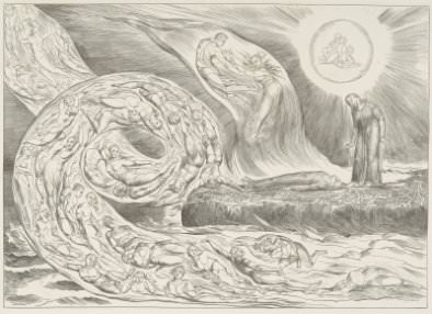 William Blake, Plate 1, The Circle of the Lustful, Canto 5, from Dante's Divine Comedy