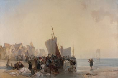 Richard Parkes Bonington, A Fish-Market near Boulogne