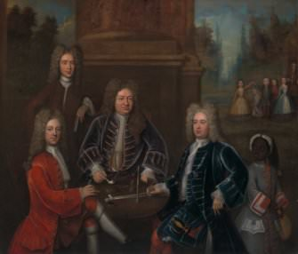 [Unknown artist], group portrait featuring Elihu Yale (YCBA)