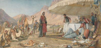 John Frederick Lewis, A Frank Encampment in the Desert of Mount Sinai. 1842—The Convent of St. Catherine in the Distance