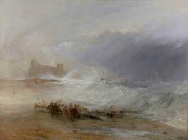 Joseph Mallord William Turner, Wreckers—Coast of Northumberland, with a Steam Boat Assisting a Ship Off Shore