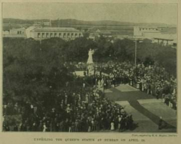 """Unveiling the Queen's Statue on April 19"": unveiling by the Prince of Wales, future King George V, on April 19, 1899."