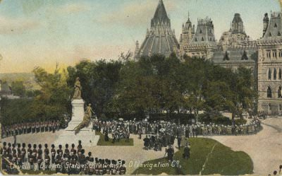 """Unveiling Queen's Statue, Ottawa, R&O Navigation Co."" (postcard): unveiling by the Prince of Wales, future King George V, on September 22, 1901"